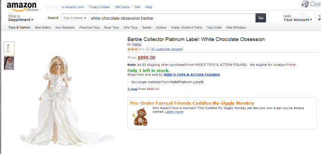 Amazon.com listing for White Chocolate Obsession Barbie