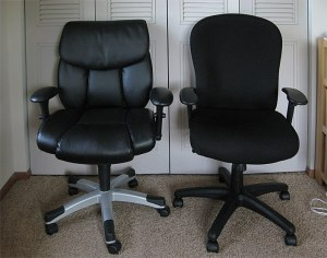The chairs: previous (left) and current (right). It's all in the seat width.