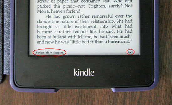 Kindle Paperwhite, showing progress indicators.