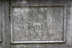 Latin inscription on a well in the UK.