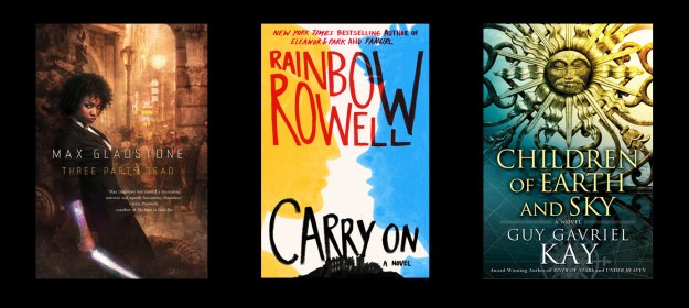 Book covers of Three Parts Dead, Carry On, Children of Earth and Sky