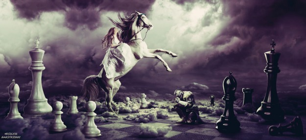 Picture of woman on a horse and a kneeling male warrior on a fantasy chessboard.